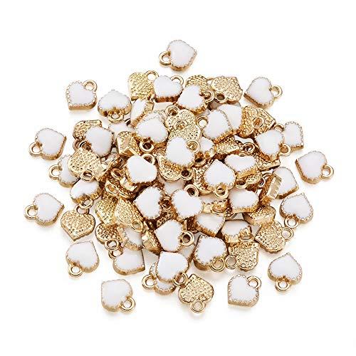Cheriswely, 100 ciondoli in lega smaltati a forma di cuore bianco in metallo placcato oro, per realizzare gioielli, bracciali, collane, orecchini, regali di San Valentino, accessori