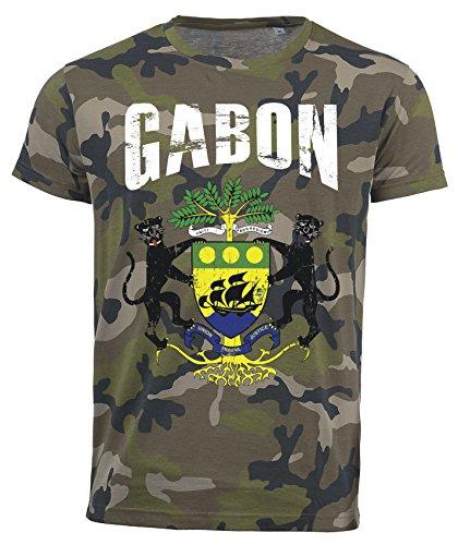 T-Shirt Gabun Camouflage Army WM 2018 .- Vintage Destroy Wappen D01 (S)