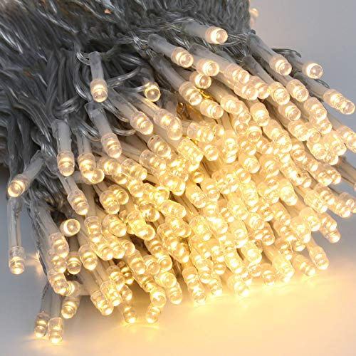 Extra-Long 147FT 400 LED Christmas String Lights Outdoor/Indoor, 8 Lighting Modes Warm White Christmas Tree Lights, Waterproof Clear Wire Decorative Lights for Wedding Party Patio Garden