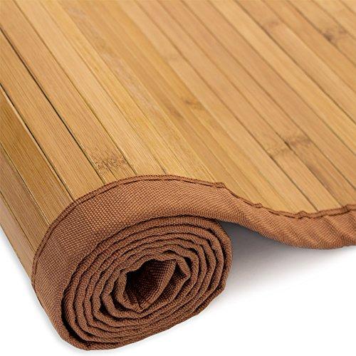 Homestyle4u 853, Bambusteppich Braun, Bambusmatte rutschfest Mit Bordüre, 160 x 230 cm