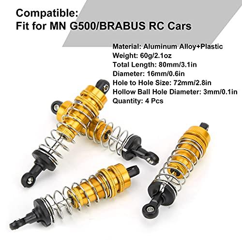 Alomejor RC Stoßdämpfer 80mm Länge 16mm Durchmesser Metallfederdämpfer für 1/12 RC Auto RC Upgrade Teile(Gold)