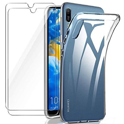 ILUXUS Huawei Y6 2019 Hülle Panzerglas, [1 Handyhülle 2 Schutzfolie] Schutzhülle [Ultra Dünn] Folie Glas 9H Panzerglasfolie TPU Silikon Hülle Cover Tasche Schale Transparent Crystal für Huawei Y6 2019