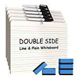 5 Pack Dry Erase Lapboard Portable Learning Board, Double Sided, Lined/Plain Writeboard Mini Lapboards with Black Marker for Students 9x12 inches