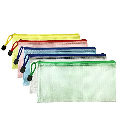 DoTebpa 15Pcs 5 Colors Small Plastic Zip Document,Clear Plastic Pouch with Zipper for Receipt,Check,Pencil,Mini Tool