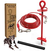 30 Ft Dog Tie Out Cable and Stake - Heavy Dog Yard Leash and Stake for Small Large Dogs Up to 100 lbs - Spiral Blade Dog Yard Stake for Outside Yard Beach Lawn with Sofe Ground (30ft -100lbs, Red)