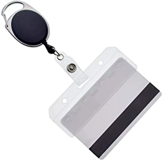5 Pack - Premium Retractable Carabiner Badge Reels with Horizontal Half Card Badge Holders (Clear Plastic) - Leaves Magnetic Mag Stripe Exposed for POS and Swipe Cards by Specialist ID (Solid Black)