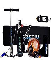 XSGDMN Cilindro de Buceo Equipo de Buceo, Mini Tanque de oxígeno para Buceo con Equipo de Buceo 1L, Accesorios para Botellas de Buceo de con Capacidad de 15-20 Minutos con diseño Recargable