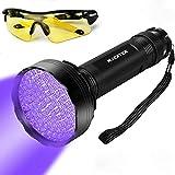 LED Black Light UV Flashlight, WJZXTEK Super Bright 100 LED 395NM Powerful Ultraviolet Blacklight Pet Urine Detector Light with UV Sunglasses for Dog Urine, Scorpions, and Bed Bugs