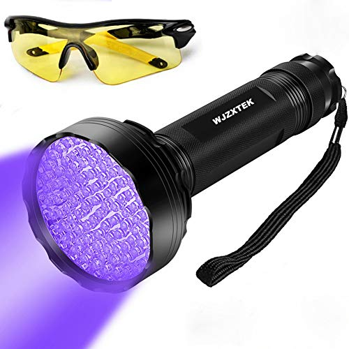 LED Black Light UV Flashlight, WJZXTEK Super Bright 100 LED 395NM Powerful Ultraviolet Blacklight Pet Urine Detector Light with UV Sunglasses for Dog Urine, Scorpions, and Bed Bugs