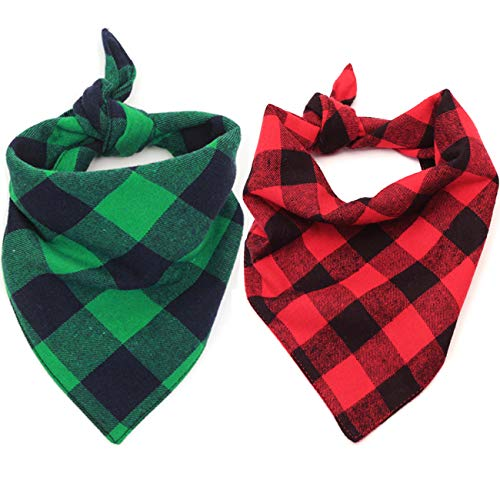 Malier 2 Pack Dog Bandana Christmas Classic Plaid Pet Bandana Scarf Triangle Bibs Kerchief Set Pet Costume Accessories Decoration for Small Medium Large Dogs Cats Pets (L)