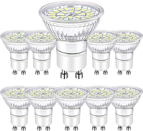 Ampoules LED GU10 5W, LED GU10 Blanc Froid 6000K 450 Lumen équivalent 50W Halogène AC 220-240V, Bombubilla Lot de 10