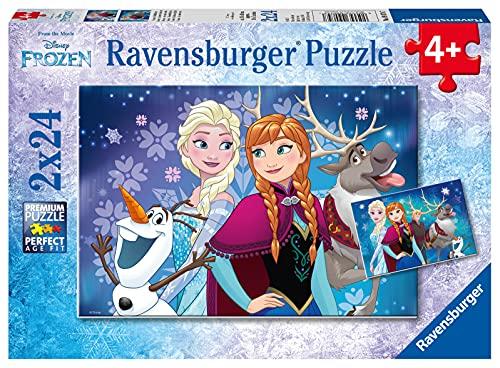 Ravensburger Kinderpuzzle - 09074 Frozen - Nordlichter - Puzzle für Kinder ab 4 Jahren, Disney Frozen Puzzle mit 2x24 Teilen