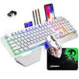 Wireless Gaming Keyboard and Mouse with Removable Palm Rest Rainbow LED 16RGB Backlit Rechargeable 4800mAh Battery Metal Panel Mechanical Ergonomic Waterproof Dustproof for Laptop PC Gamer(White RGB)