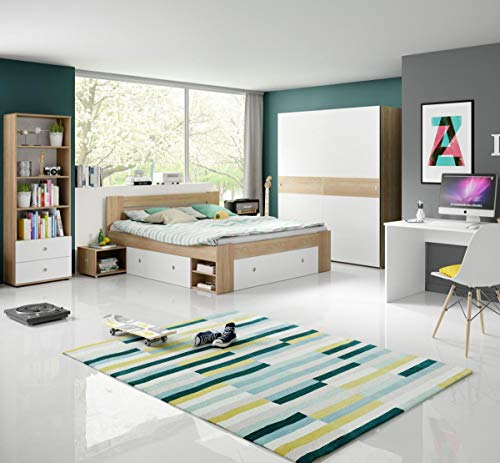 Jugendzimmer Wiggi Set 3 Eiche Sonoma Weiss 4tlg Kinderzimmer Jugendmöbel Set