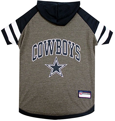 Dallas Cowboys Hoodie for Dogs & Cats. NFL Football Licensed Dog Hoody Tee Shirt, Small. Sports Hoody T-Shirt for Pets. Licensed Sporty Dog Shirt