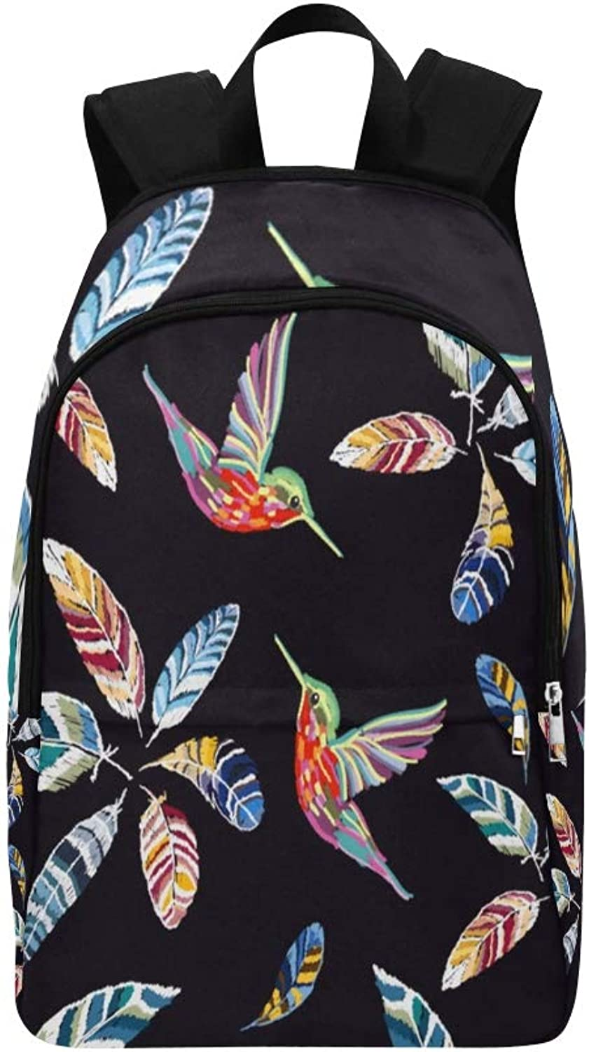 Embroidery colorful Feathers Casual Daypack Travel Bag College School Backpack for Mens and Women