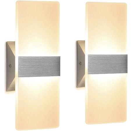 Applique Murale Interieur 12W Lampe Murale Applique LED Intérieur Applique Murale Acrylique Eclairage Moderne pour Salon Chambre Escalier Couloir | Blanc Chaud 3000K | 2 Pack