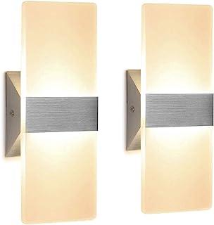 2 Pcs Lámpara de Pared LED 12W, Interior Apliques de Pared Moderna Acrílico, Iluminación Interior para Decoració para Dormitorio Salón y habitación, Blanco Cálido