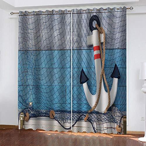 WXhGY Cortinas Opacas Azul Cortina Térmicas Aislantes con Ojales Red De Pesca De Ancla 75x166 cm Reduccion Ruido Proteccion Intimidad,Decorativa para Hogar Dormitorio Salón Oficina,2 Piezas