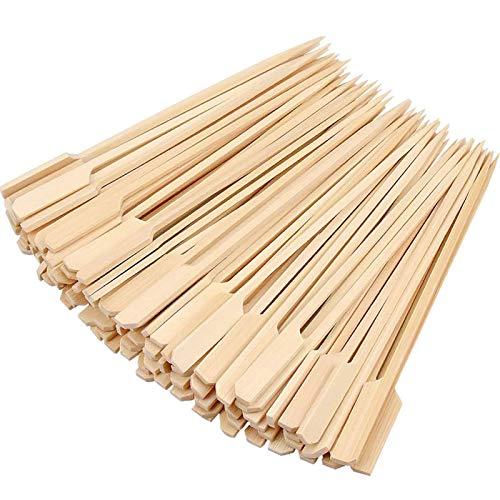 300 Stück Barbecue Bambus Spieße Fingerfood Spiesse Natur Spieße aus Bambus Grillspieße Party Sticks Spieße für Grillgut/ Pfanne/ Fingerfood und Antipasti, Stabil, Gut zum Greifen Durch Breiteres