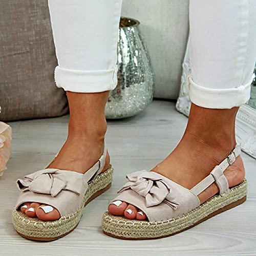 Heroine Sandalias para Mujer Plataforma de cuña Cómodas Sandalias de Antideslizantes Transpirable, para Caminar Playa de Verano con Playa Moda de Viaje Zapato al Aire Libre,Beige,40