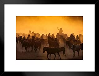 Poster Foundry Cowboys Herding Wild Horses at Dusk Photo Art Print Matted Framed Wall Art 26x20 inch