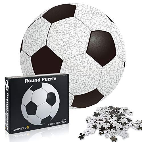 Funmo-1000 Teile Runde Puzzle, Kinderpuzzle, Puzzle für Erwachsenenpuzzle, Puzzle Kreative Erwachsene, Pädagogisches Stressfreisetzung Spielzeug für Erwachsene Kinder, (Fußball)