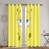 Cortinas para sala de estar, diseño de Bob Esponja, para sala de estar, cortina de ventana, tela de 160 x 160 cm