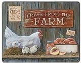 Blechschild, 20 x 30 cm, Motiv: Fresh From The Farm Chickens und Peaches, Kunstschild, Heimdekoration, für Kaffee, Bar, Zimmer, Vintage-Dekor