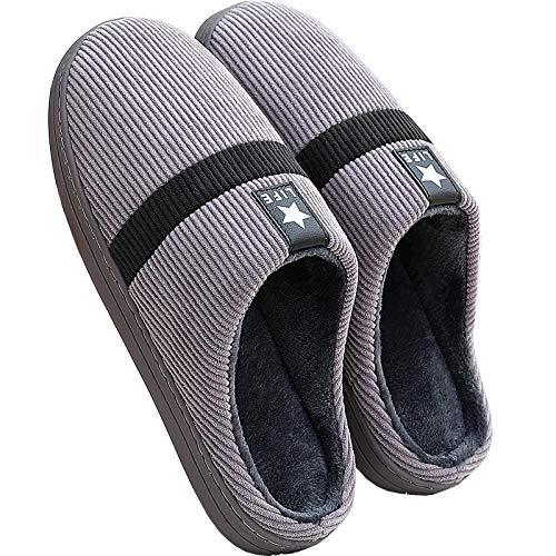 KIKIGO Zapatillas Andar por casa Hombre,Zapatos caseros de algodón Antideslizante de Suela Blanda para Hombres en otoño e Invierno, Zapatos para Interiores cálidos y cómodos.-Gris_47