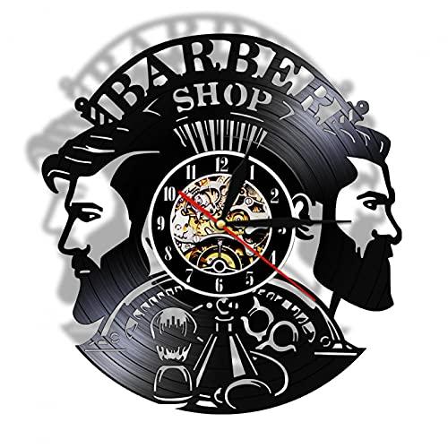XYVXJ Reloj de Pared de Vinilo LP de Corte de Pelo para Hombre de peluquería, Regalo para él, peluquería, Barba, Bigote, Reloj de Pared de Cuarzo Vintage