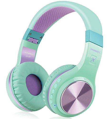 Riwbox XBT-80Cuffie over-ear Bluetooth Wireless, pieghevoli stereo, con microfono e controllo del volume, e jack per PC/ cellulari/ TV/ iPad, Purple Green