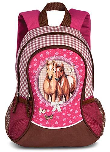Kinder Mädchen Rucksack Kinderrucksack mit tollem Pferde Pfohlen Motiv (20550) mit Hauptfach und Nebenfach Getränkenetz, 35 x 27 x 15 cm, pink