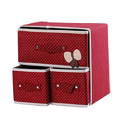 Fei-1 Armadi Pieghevoli 2-Shelf Organizer per Armadio con 3 cassetti Addensare Tuta in Tessuto Non Tessuto Storage Box Pieghevole Contenitore Home Storage Rose Rosso