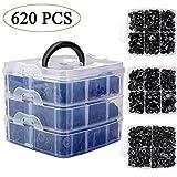 Uolor 620 Pcs Rivet Clips Plastique, Rivet Plastique Fixation de Protection, Clips Voiture Noir Universel pour Auto...