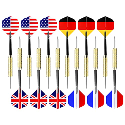 Ohuhu Darts Set, 12 Pack Steel Tip Darts with National Flag Flights (4 Styles) Stainless Steel Needle Tip Dart with Extra PVC Dart Rods and Black Cloth Bag