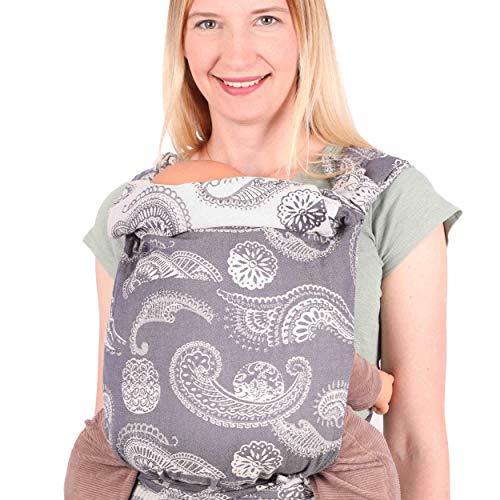 SCHMUSEWOLKE Mei Tai Babytrage Neugeborene und Kleinkinder Caribbean Blue BIO-Baumwolle Babysize 0-24 Monate 3-16 kg Bauch-und Rückentrage