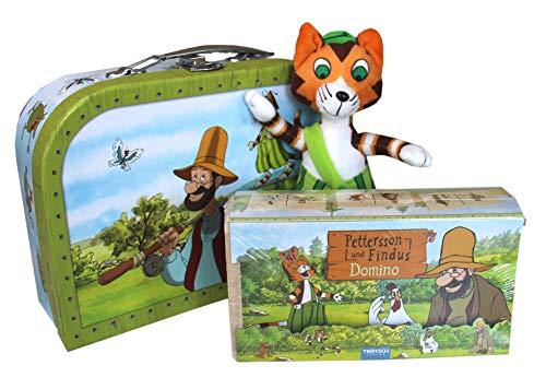 Edition A. Trötsch Geschenkset Pettersson und Findus - Spielzeugkoffer/Reisekoffer: Kinderkoffer, Plüschtier, Holz-Domino