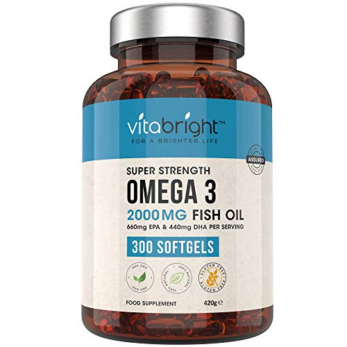 Omega 3 Pure Fish Oil 2000mg - 300 Softgel Capsules (5 Months Supply) - 660mg EPA & 440mg DHA per Serving - Supports Brain, Heart Function and Eye Health - Made in The UK by VitaBright