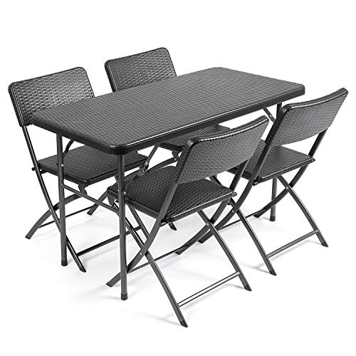 CHRISTOW Rattan Effect Garden Dining Set 4ft Folding Table 4 Chairs Furniture