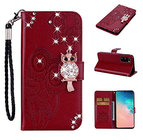 Tom's Village Glitter Diamonds Owl Wallet Case for Samsung Galaxy S20 ID/Credit Card Slots PU Leather Magnetic Flip Cover Shockproof Flexible Soft TPU Rubber Bumper Shell Slim Fit Protective Cover Red