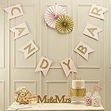 Ginger Ray Banderines de boda con purpurina, color rosa y dorado, para decoración de tartas, papel