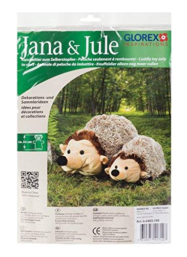 GLOREX 0 4403 100 - Kuscheltier zum Selberstopfen Igel Jana und Jule, ca. 32 cm groß, aus hochwertigem Plüsch genäht, müssen nur noch befüllt werden, mit Geburtsurkunde