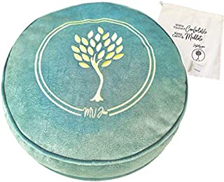 MV Joie Zafu Yoga Meditation Cushion Filled with Buckwheat Hulls & Charcoal Packs | Yoga Pillow in Soft Velvet/Suede; Embr...