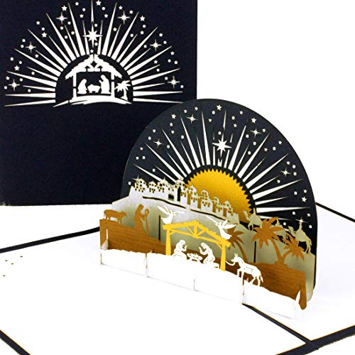 """Weihnachtskarte """"Krippe mit Stern"""" - 3D Pop Up Karte zu Weihnachten, Weihnachtskarten mit Umschlag"""