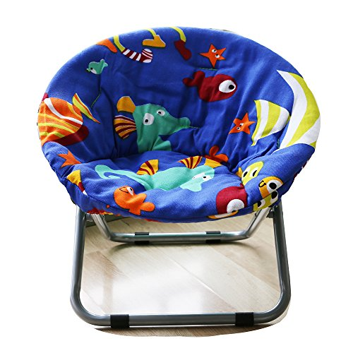 AteAte Comfortable Kids Folding Moon Chair for Indoor and Outdoor Cute Bottom Fish Design for...