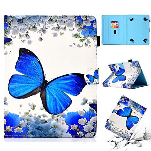 HereMore Funda Tablet de 9-10.1', Slim Case Carcasa Protectora para Galaxy Tab A6 10.1, Huawei MediaPad T3/T5 10/M5 Lite 10 LNMBBS 10.1, BQ Aquaris M10,Yuntab K17, Lenovo TB-X103F, Mariposa