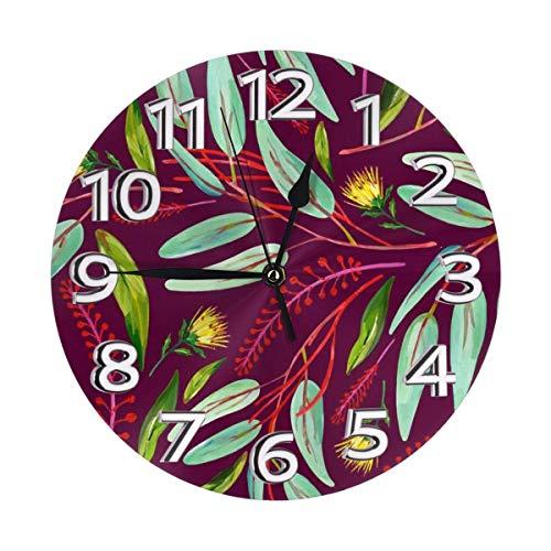 Mailine Grüne Tropische Blätter Rote Blumenwanduhr wasserdichte dekorative Uhren Leichte Uhr mit römischen Ziffernzeigern Runde Wanduhr