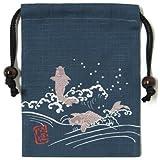 【日本製】 和風布物 縁起物づくし 開運亭 角巾着 鯉の滝登り巾着袋 夫婦鯉