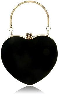 Damen-Clutch aus Velours, Herzform, Vintage, Schultertasche, elegante Geldbörse für Hochzeit, Abend